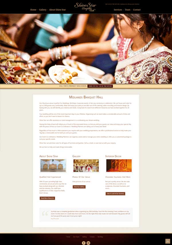 Website Designed for Banqueting Hall Boss Cat Web Design London