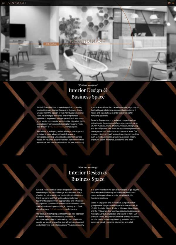 Website Bespoke Designed for Interior Designers Boss Cat Web Design London